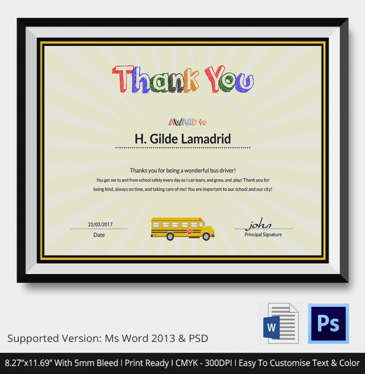 bus driver thank you certificate