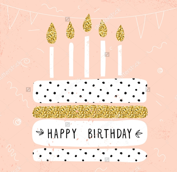 Cute Happy Birthday Card Vector Illustration