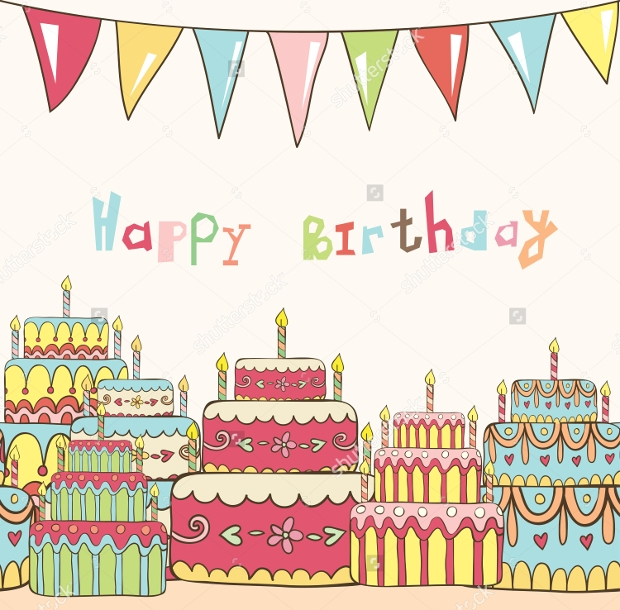birthday card with cakes vector