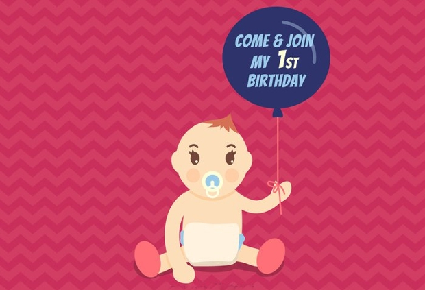 first birthday invitation vector
