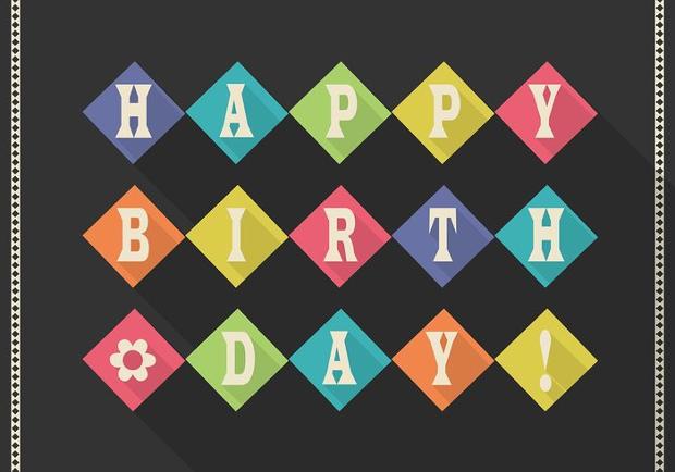 retro happy birthday card vector1
