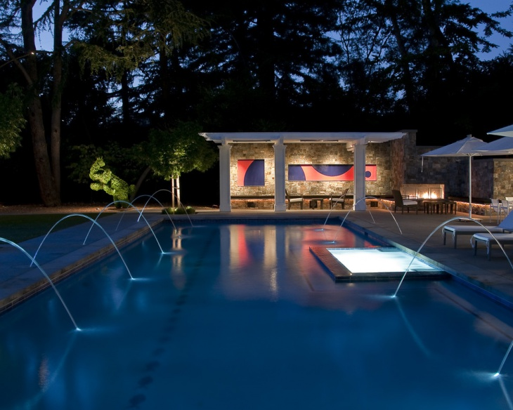pool fountain lights design
