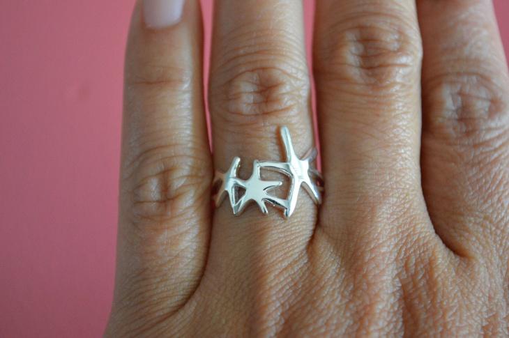 silver starfish ring band