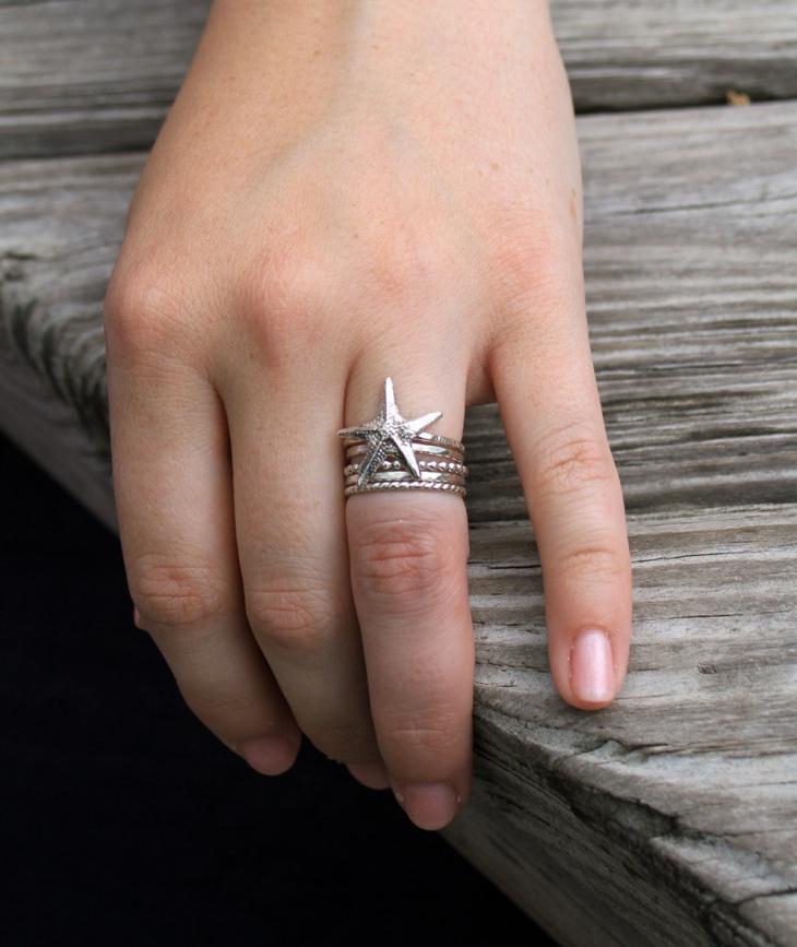silver starfish stacking ring