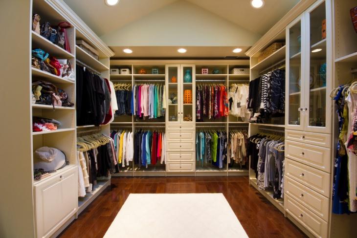 luxurious walk in closet storage idea
