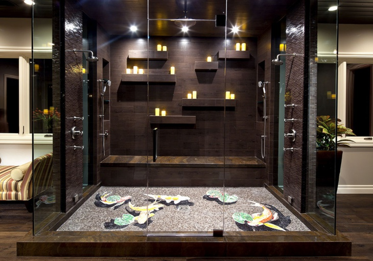 shower wall candle light with mosaic floor 1