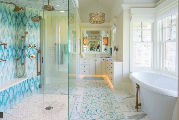 Coastal Bathroom Tile Ideas: 20+ Mosaic Floor Designs, Ideas