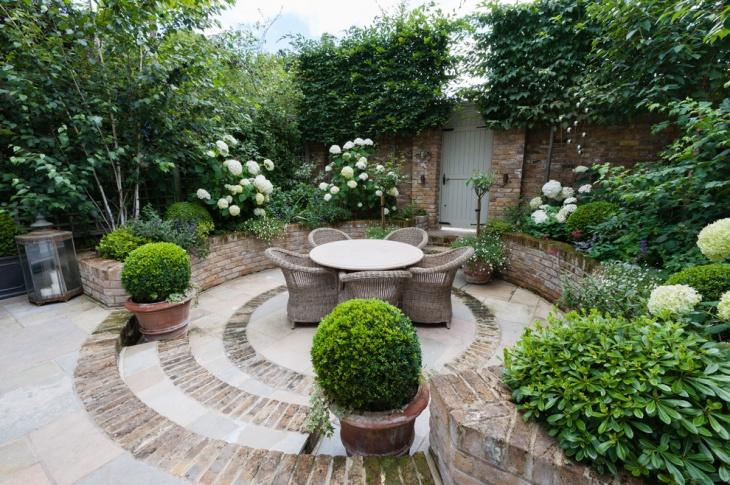 travertine bed patio garden