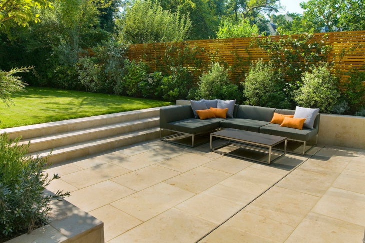 sunken garden layout with furniture space