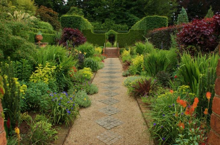 geometric designed sunken garden
