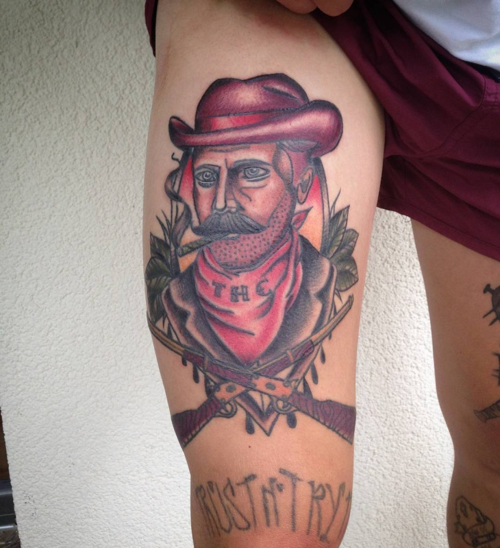 Cowboy Tattoo for Thigh