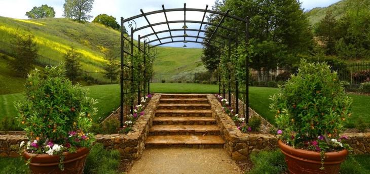 Modern Metal Garden Arbor