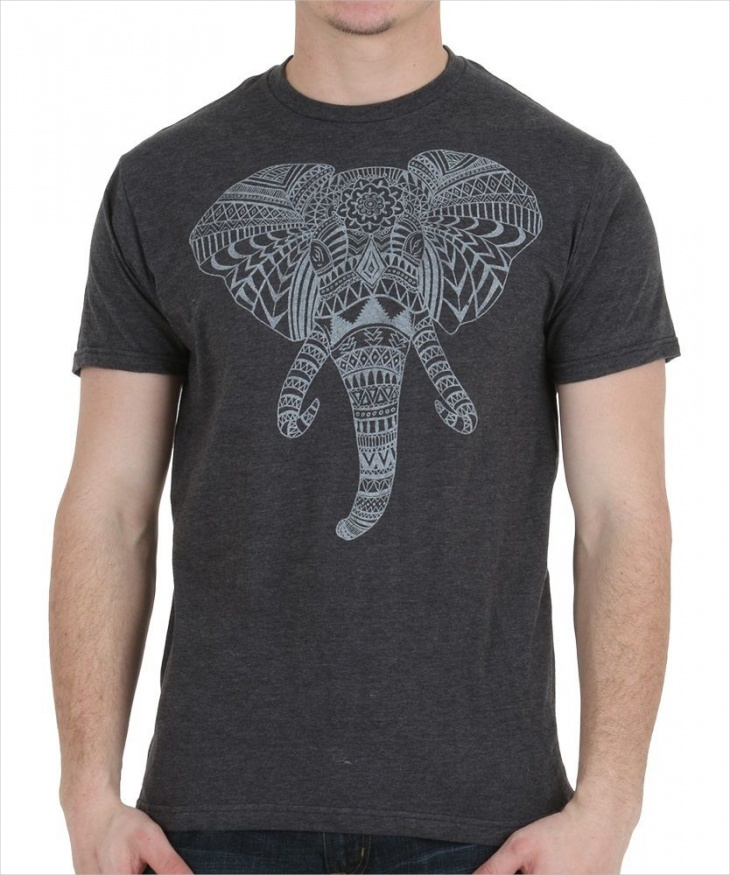 elephant aztec head t shirt