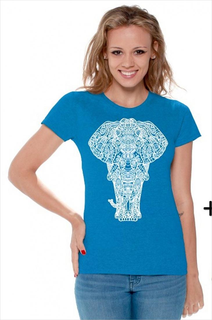 Blue Aztec Print T Shirts