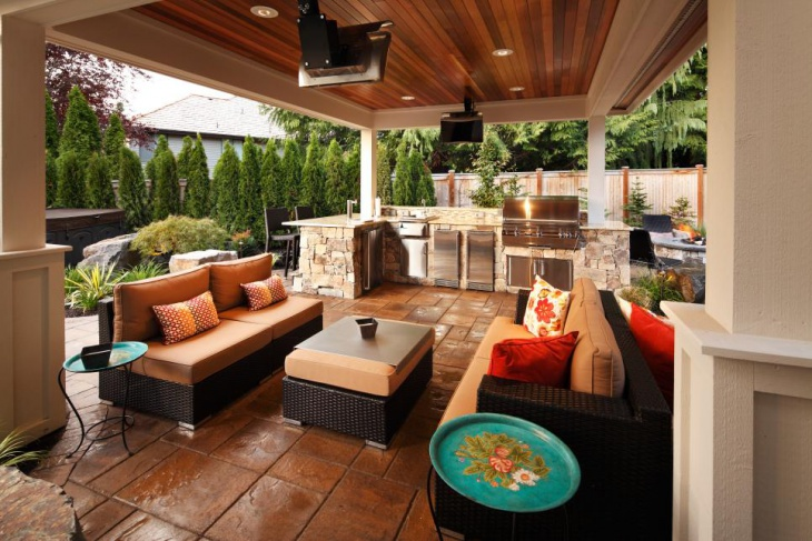 outdoor kitchen living wood ceiling