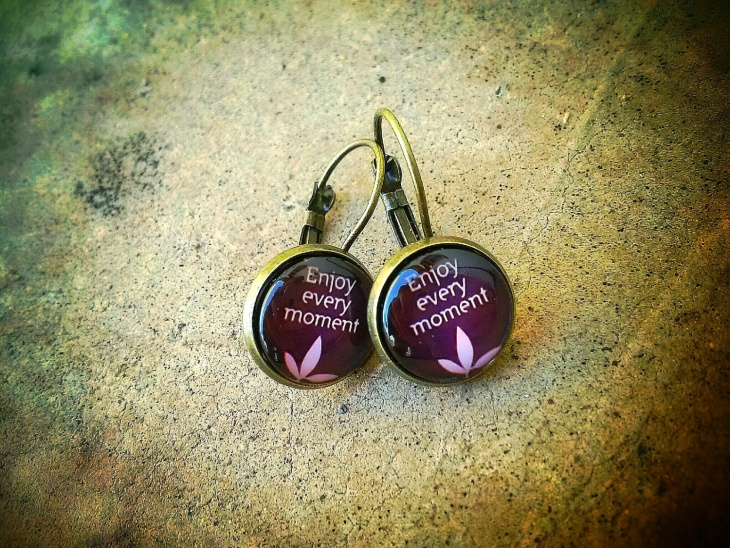 Glass Cabochon Quote Earrings