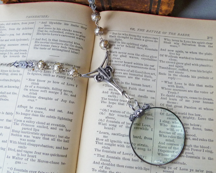 Magnifying Pendant Necklace with Glass Pearls