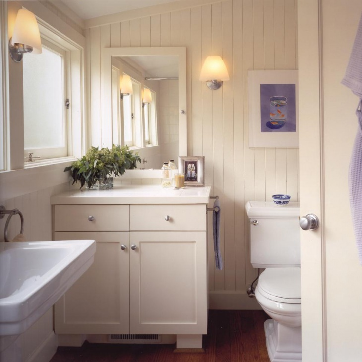 Tiny Beadboard Bathroom & Cabinet Idea