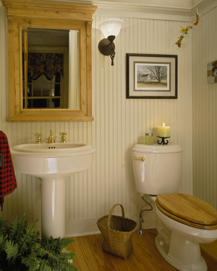 decorativr small beadboard bathroom