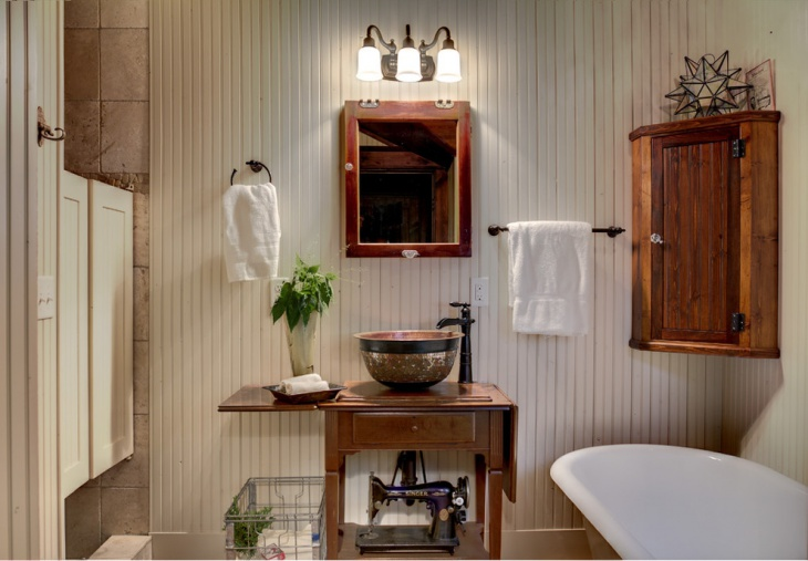 small rustic beadboard bathroom