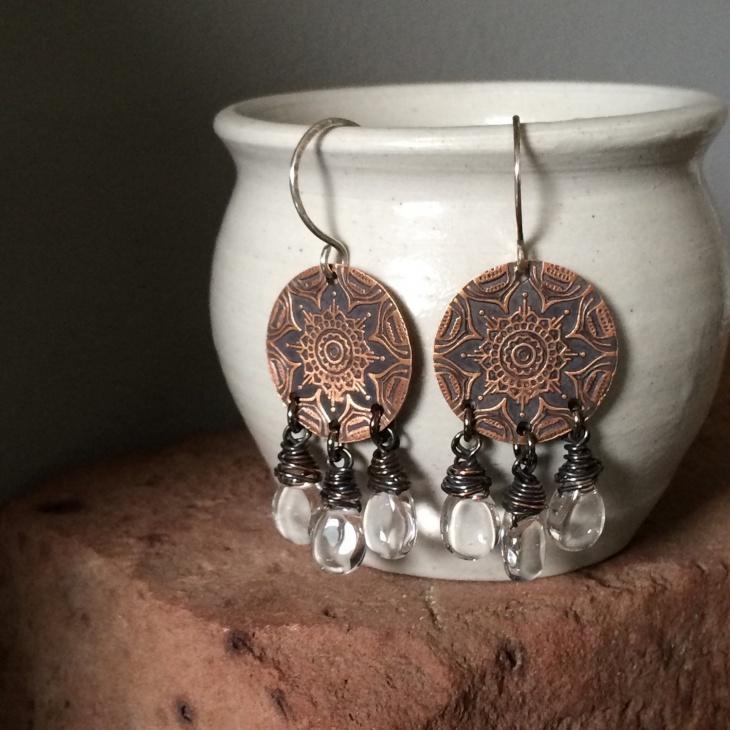 crystal mandala earrings