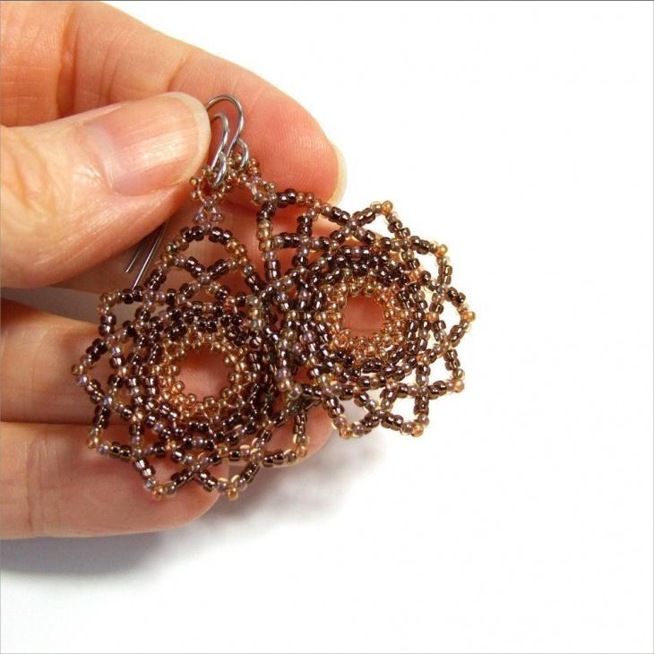 beaded mandala earrings
