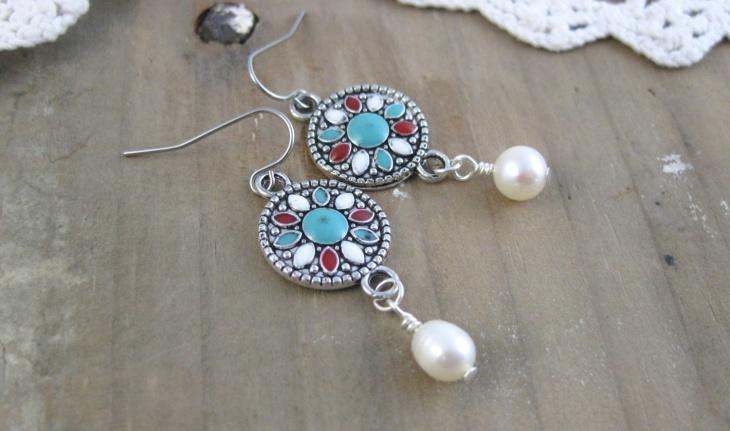 Mandala Pearl Earrings