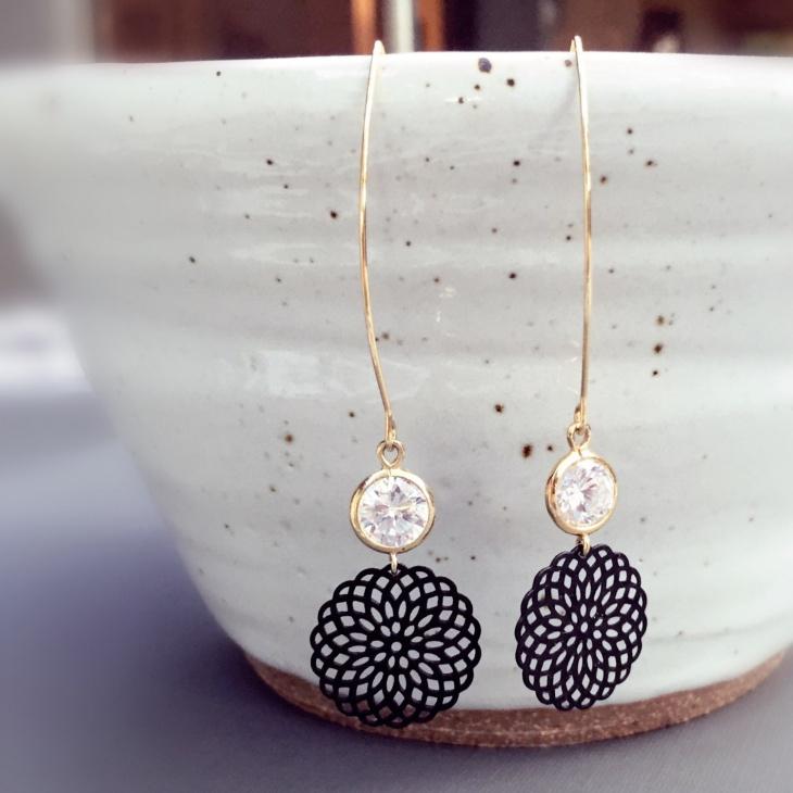 Black Mandala Earrings