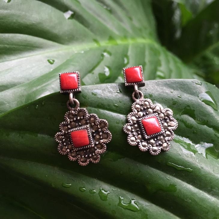 Mandala Silver Dangle Drop Earrings