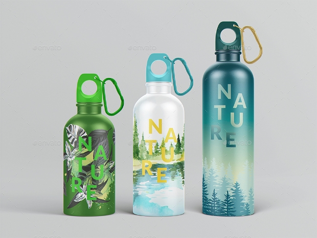 reusable water bottle mockup design