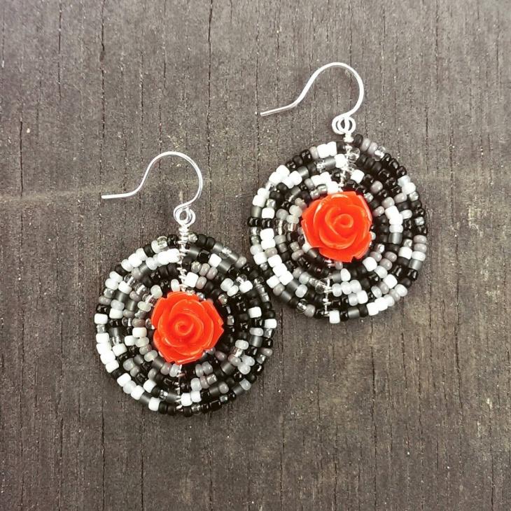 Gothic Rose Mandala Earrings