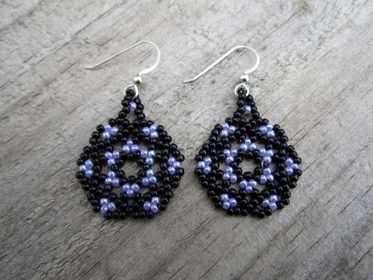 Black and Purple Mandala Earrings