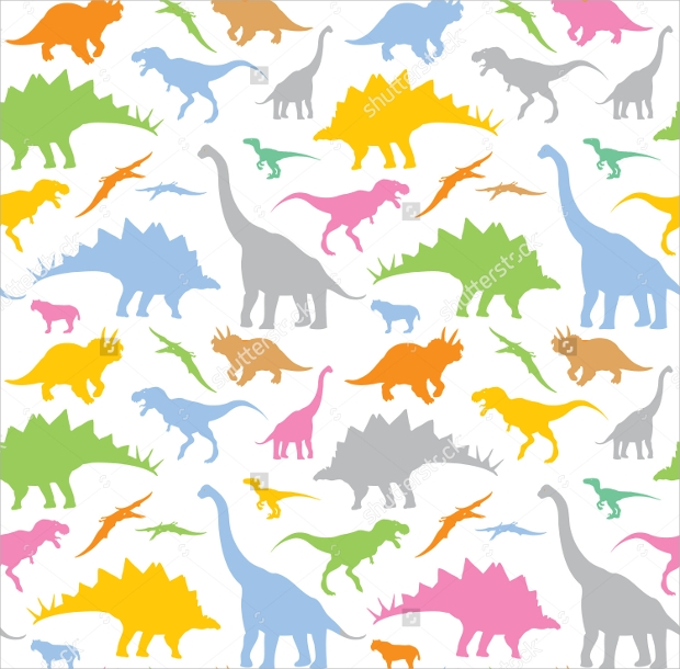 Vector Colorful Dinosaurs Pattern