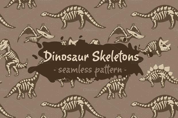dinosaur skeletons skin pattern