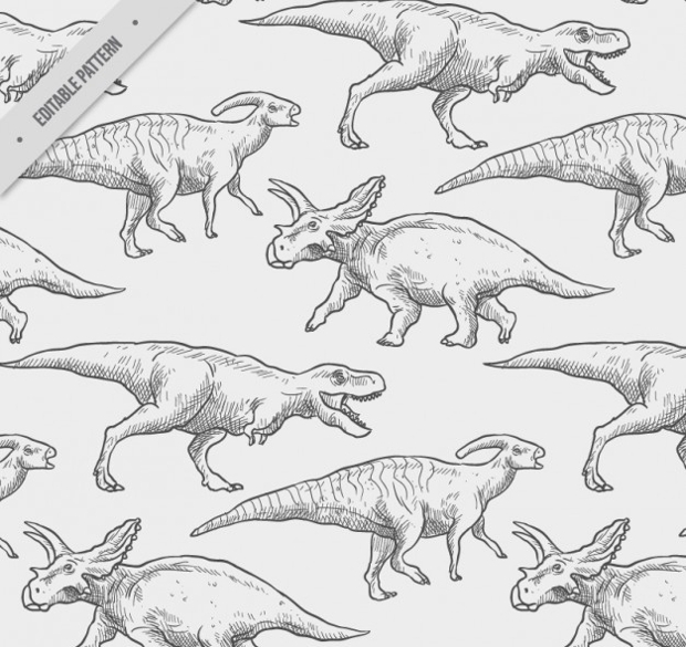Hand Drawn Dinosaur Patterns