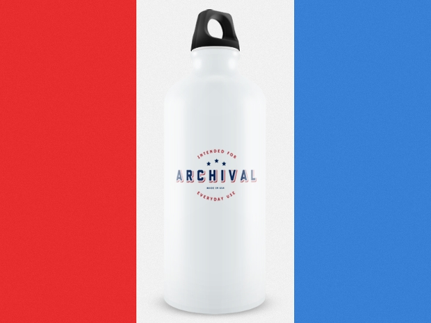 archival water bottle mockup