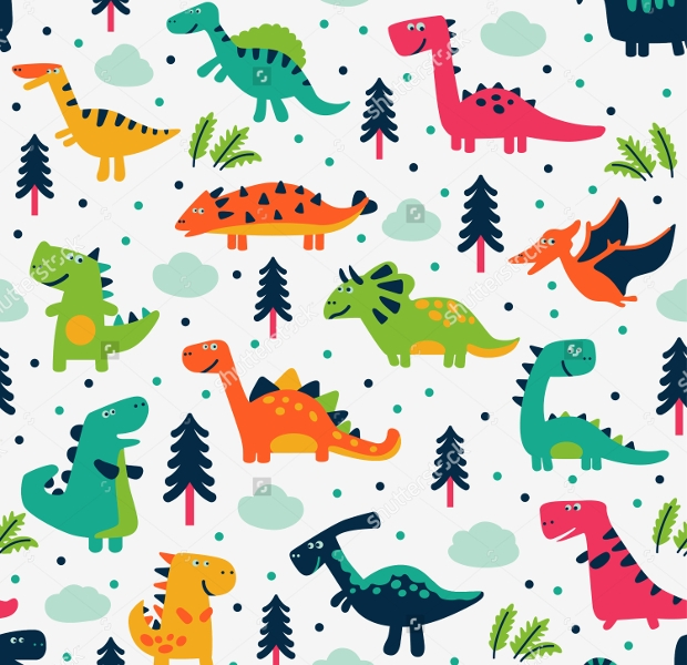 Funny Cartoon Dinosaurs Seamless Pattern