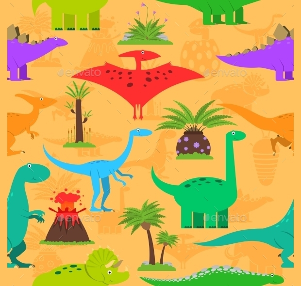 colorful dinosaurs pattern