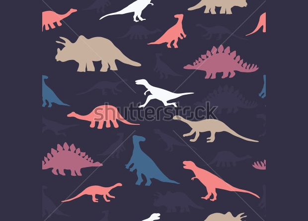 cute colorful dinosaurs seamless pattern