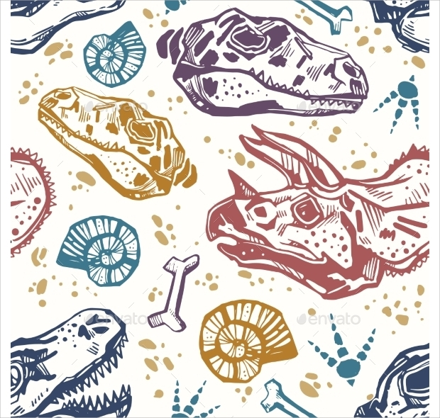 dinosaur bones seamless pattern