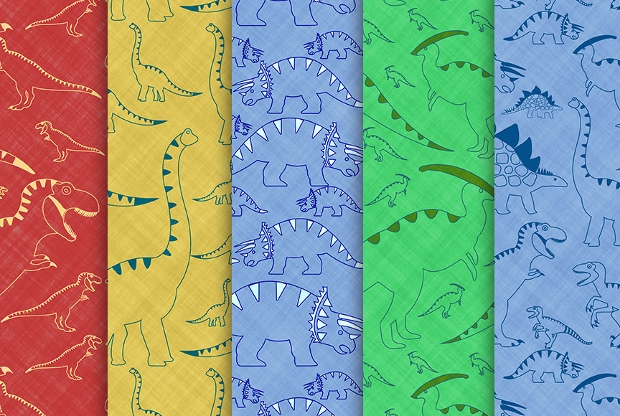 set of dinosaur digital paper patterns