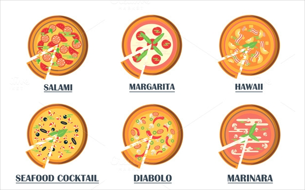 flat pizza icons with names