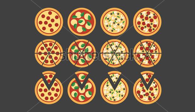 flat pizza icons set