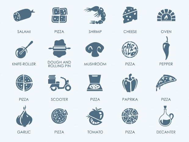 modern pizza icons set