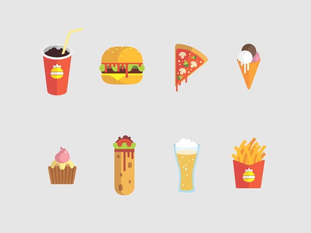 pizza burger icons