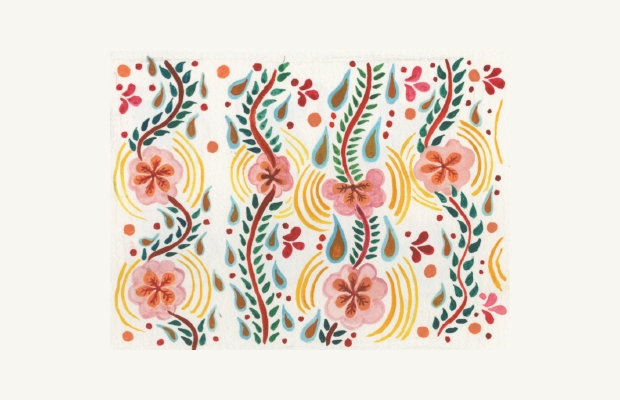 Simple Mexican Floral Pattern Design