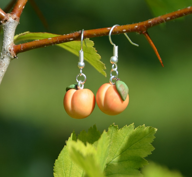 Peach Fruit Earrings Design