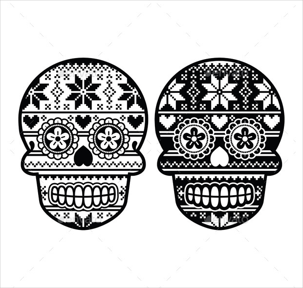 Mexican Black Sugar Skull with Winter Pattern