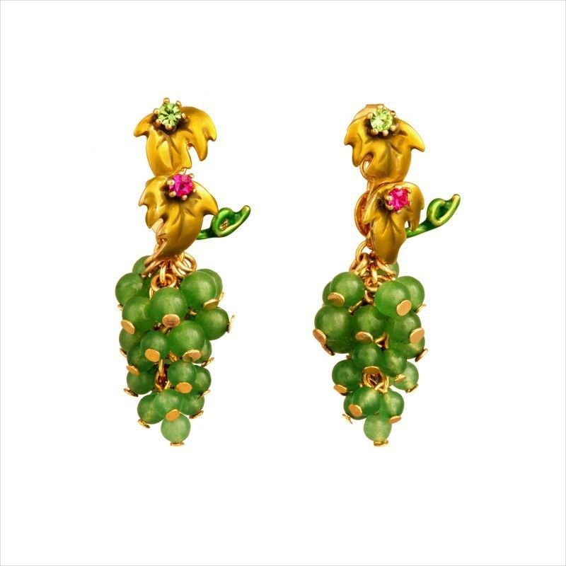 grape drop earrings design