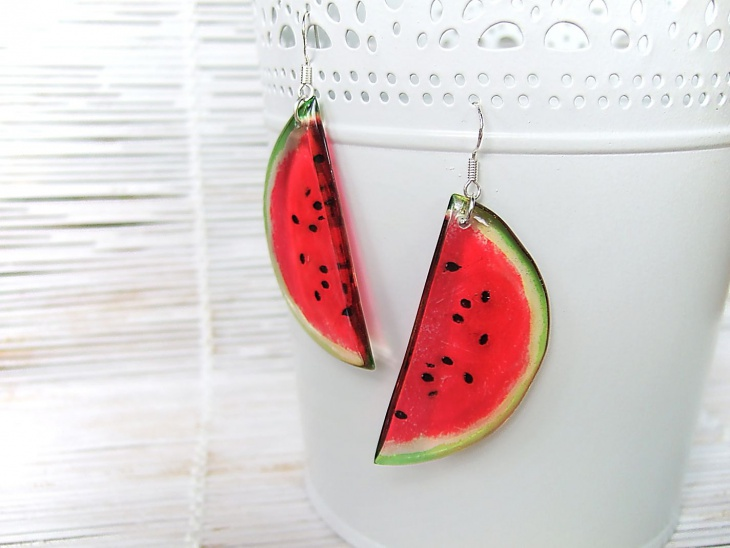 watermelon slice fruit earrings